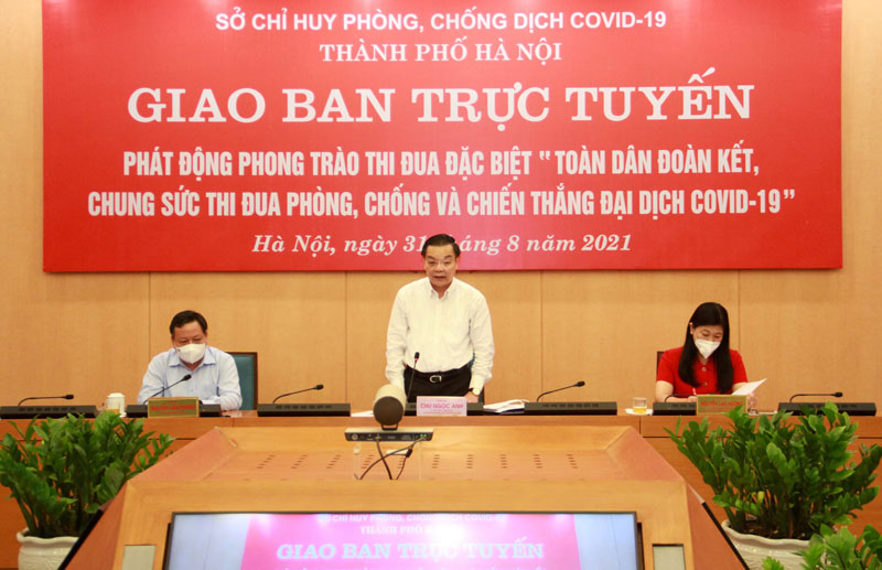 Chủ tịch UBND thành phố Hà Nội Chu Ngọc Anh phát biểu.