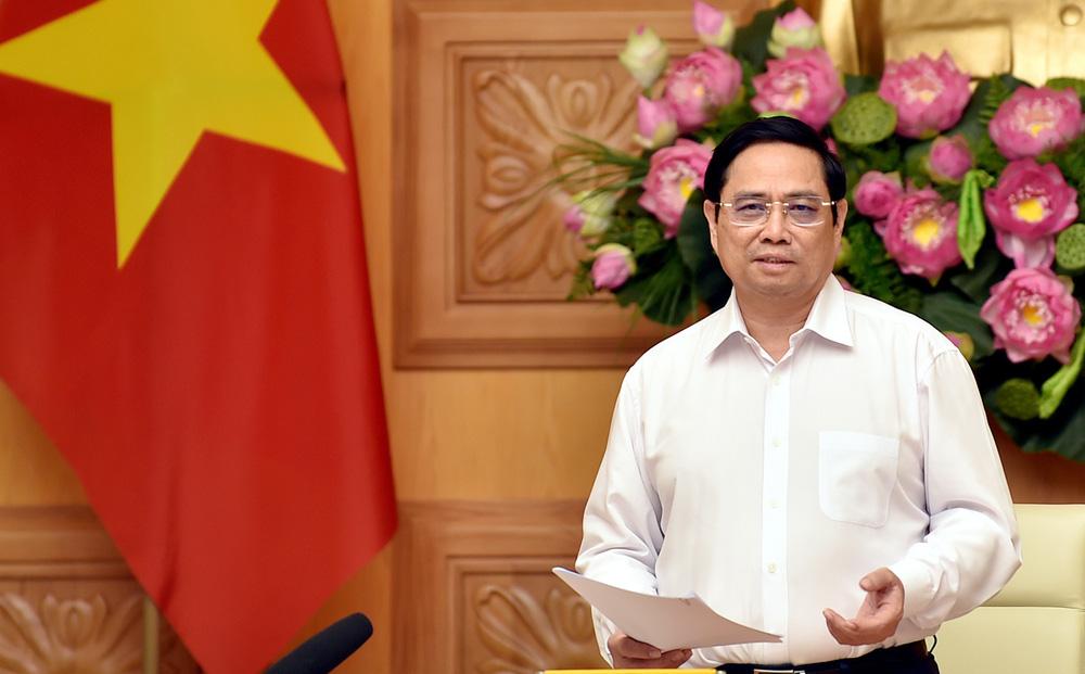 Thủ tướng Phạm Minh Chính phát biểu tại buổi gặp mặt và làm việc.