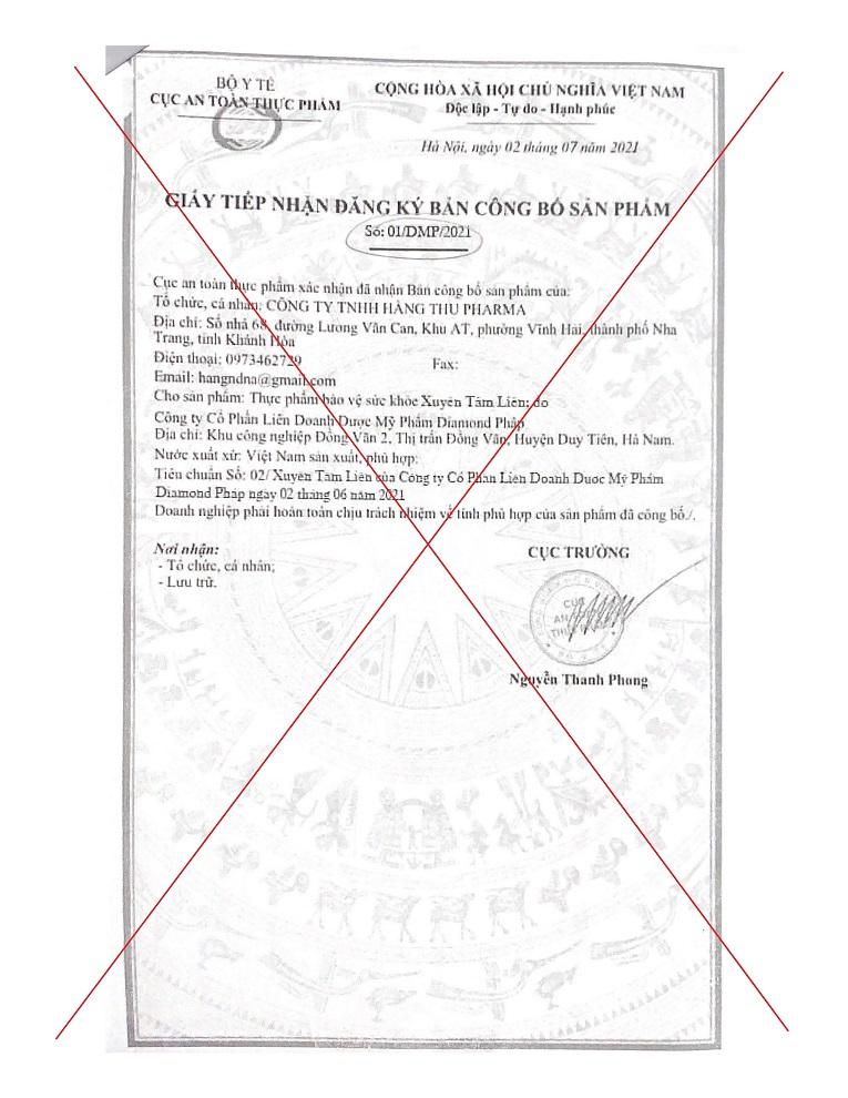 Hình ảnh giả mạo giấy tiếp nhận đăng ký bản công bố sản phẩm có số đăng ký: 01/DMP/2021, cấp ngày 2/7/2021
