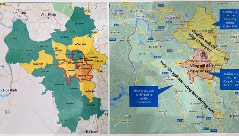 UBND thành phố Hà Nội vừa ra thông báo về việc phân vùng phòng chống dịch COVID-19 trên địa bàn thành phố.