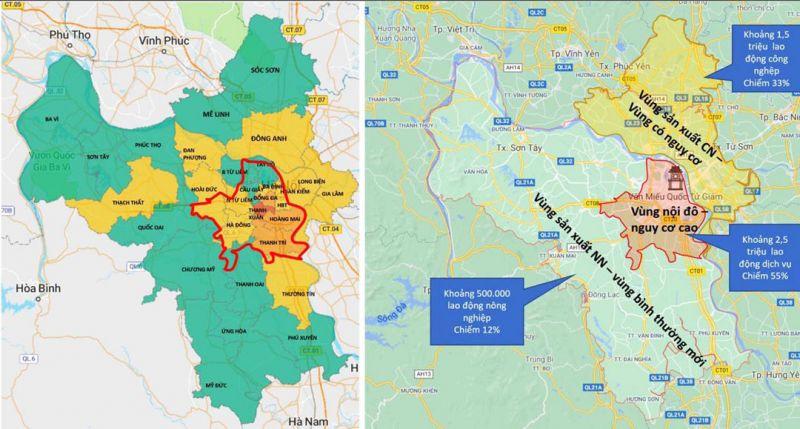 Sơ đồ phương án phân vùng phòng, chống dịch Covid-19 thành phố Hà Nội thực hiện từ ngày 6-9 đến ngày 21-9.