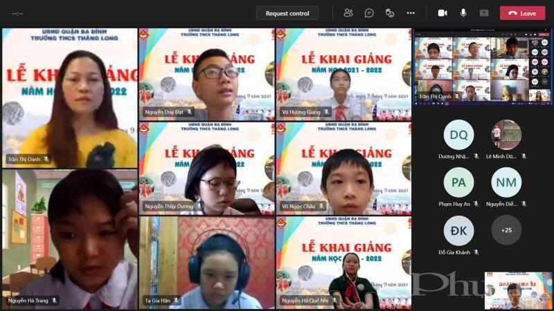 Cô giáo Trần Oanh - Giáo viên lớp 6D Trường Trung học cơ sở Thăng Long, Ba Đình, Hà Nội.