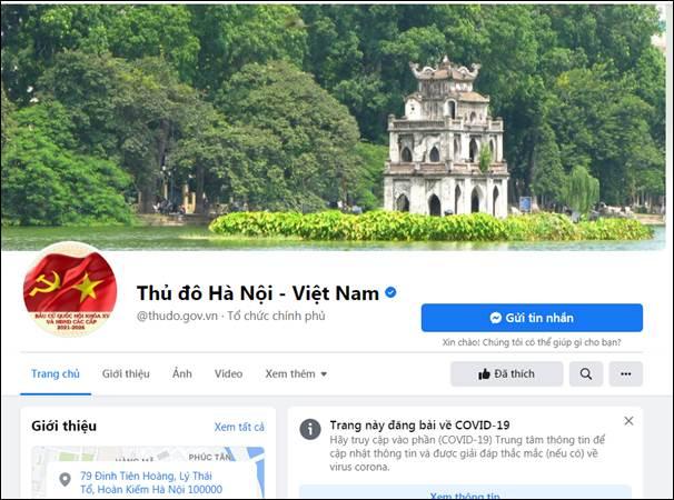 Trang fanpage chính thức của Thủ đô Hà Nội. Địa chỉ: ttps://www.facebook.com/thudo.gov.vn/