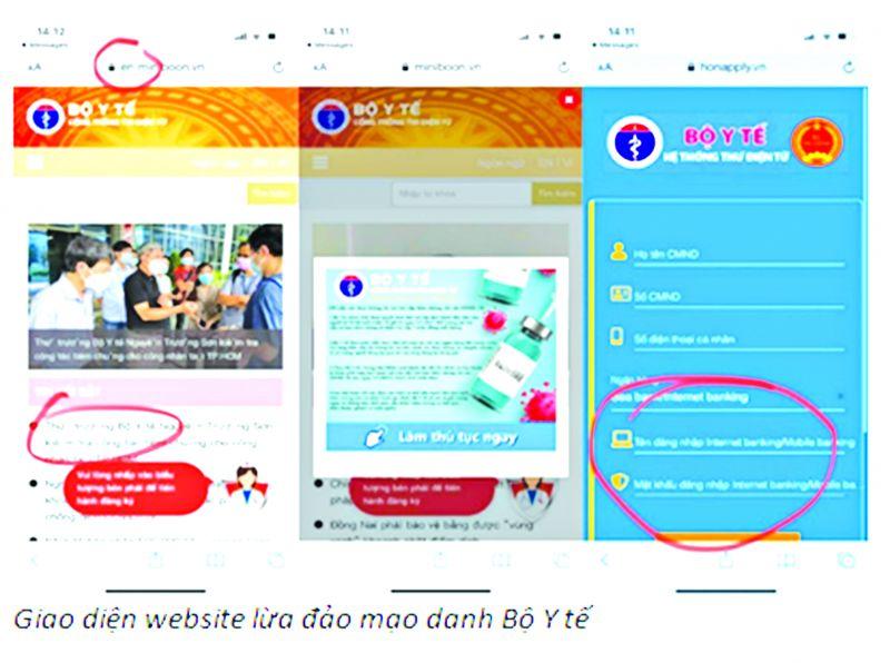 Giao diện website giả danh Bộ Y tế để lừa đảo người dân
