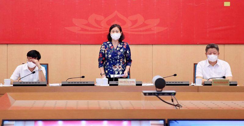 Phó Bí thư Thường trực Thành ủy Hà Nội Nguyễn Thị Tuyến phát biểu kết luận cuộc họp.