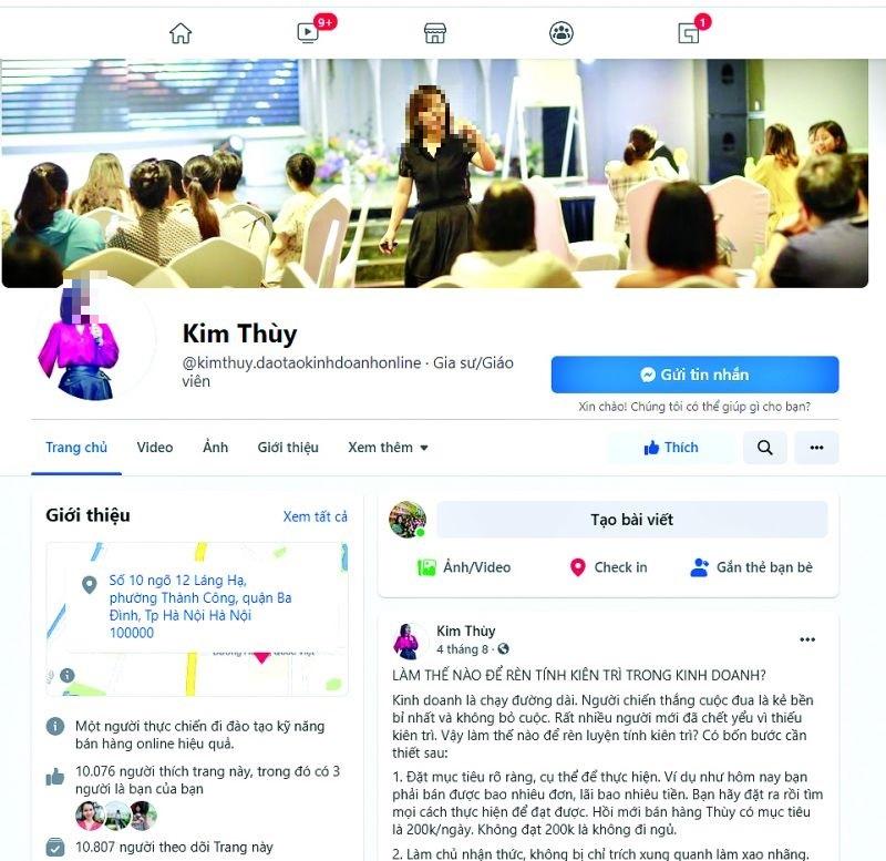 Trang facebook cá nhân của Nguyễn Thị Kim Thùy (Ảnh: NVCC)