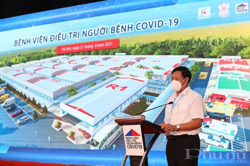 Thứ trưởng Bộ Y tế Đỗ Xuân Tuyên phát biểu tại Lễ Khánh thành Bệnh viên Điều trị Covid-19- Y Hà Nội.