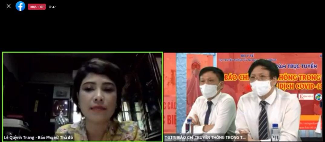 Nhà báo Lê Quỳnh Trang - Tổng biên tập Báo Phụ nữ Thủ đô tham gia thảo luận tại đầu cầu Hà Nội