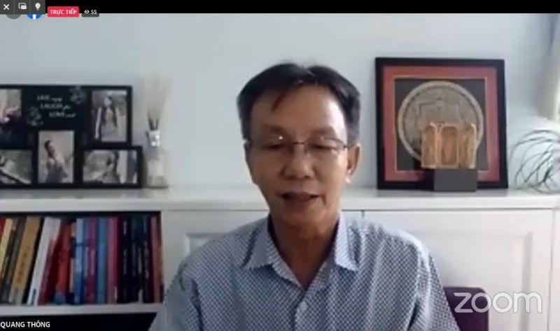Nhà báo Nguyễn Quang Thông - Tổng Biên tập Báo Thanh niên phát biểu từ điểm cầu TPHCM
