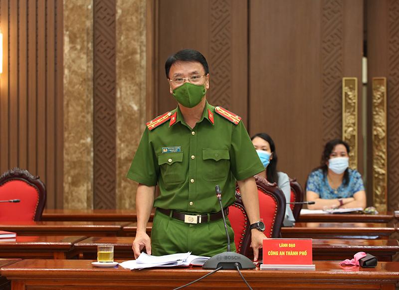 Phó Giám đốc Công an TP Hà Nội Trần Ngọc Dương thông tin tại hội nghị