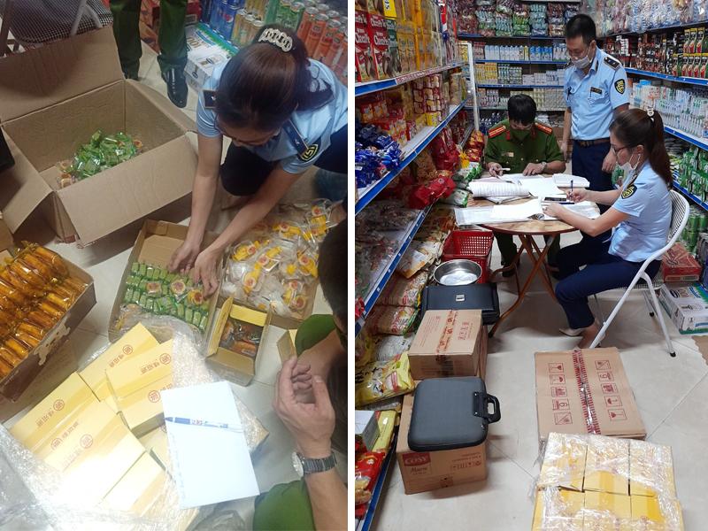 Lực lượng kiểm tra cửa hàng tại huyện Sơn Dương, Tuyên Quang