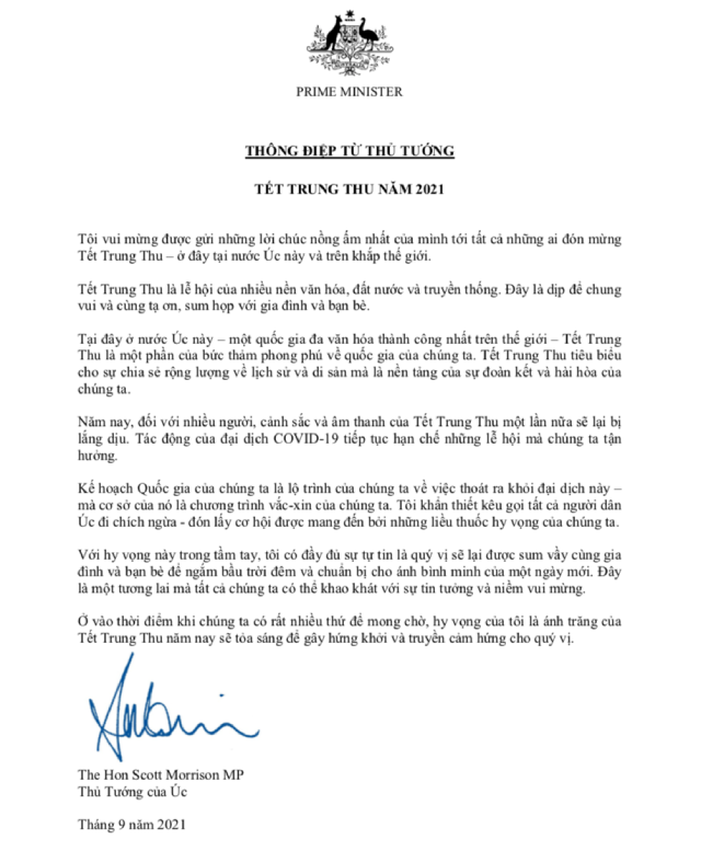 Thủ tướng Australia gửi thông điệp chúc Tết Trung thu bằng tiếng Việt.