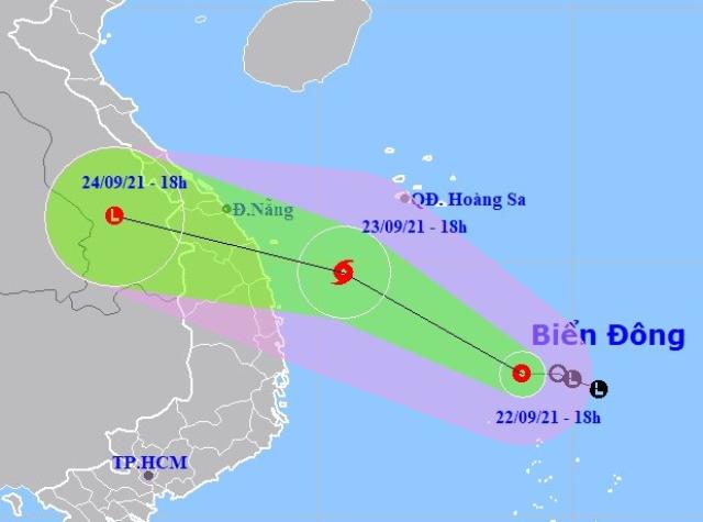 Dự báo vị trí và đường đi của Áp thấp nhiệt đới. Ảnh NCHMF
