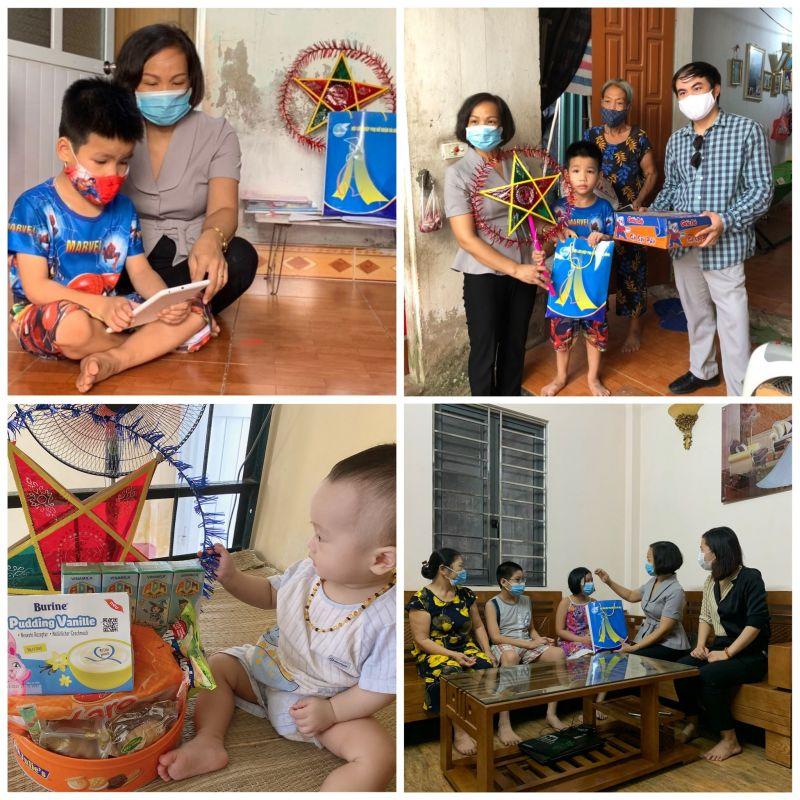 Chủ tịch Hội LHPN quận Hà Đông Lại Hà Phương tặng quà, thăm hỏi các em nhỏ có hoàn cảnh khó khăn, các em là con của cán bộ tham gia chống dịch tuyến đầu