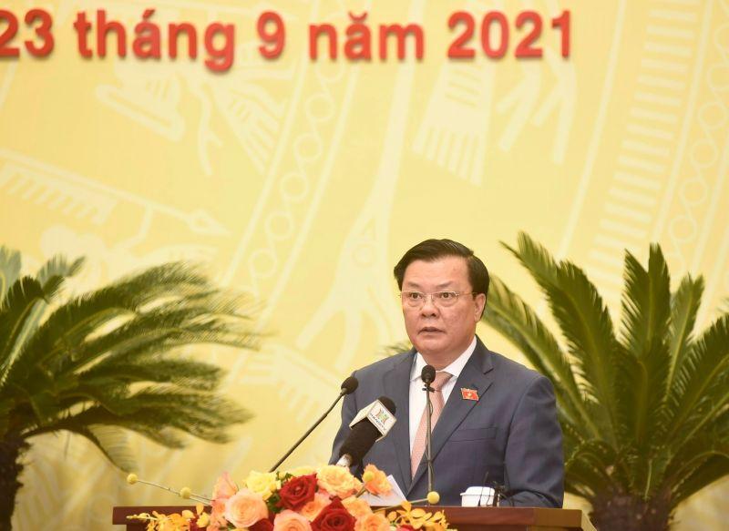 Bí thư Thành uỷ Hà Nội Đinh Tiến Dũng phát biểu tại kỳ họp