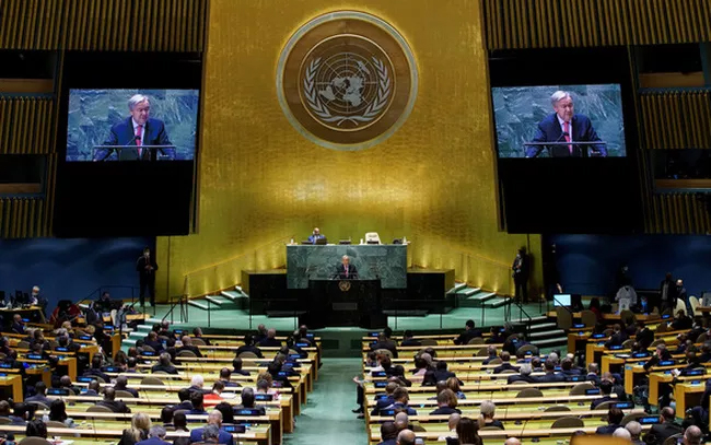 Tổng Thư ký LHQ Antonio Guterres phát biểu khai mạc Phiên thảo luận chung cấp cao Khóa họp thứ 76 Đại hội đồng Liên Hợp Quốc ngày 21/9. Ảnh: Reuters