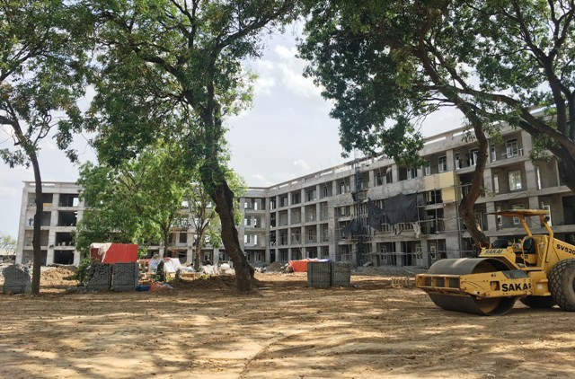 Trường THPT Mê Linh đang được đầu tư xây dựng, phấn đấu hoàn thành trong tháng 9/2021.