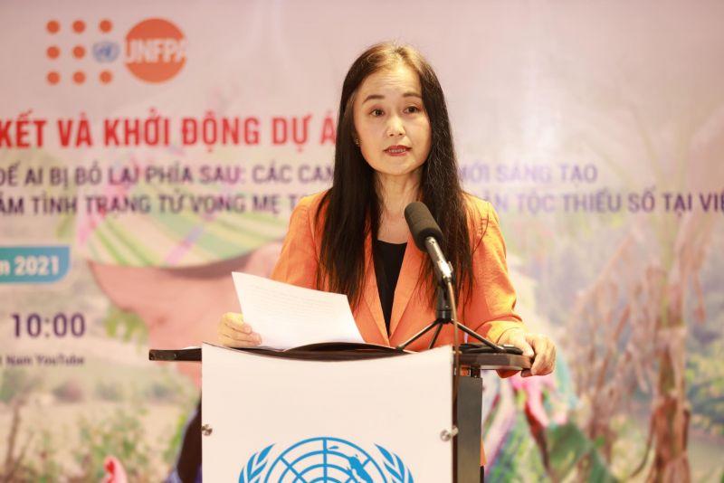 Bà Naomi Kitahara, Trưởng đại diện UNFPA tại Việt Nam phát biểu tại sự kiện