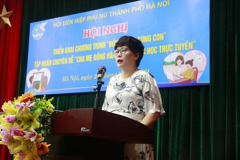 Bà Nguyễn Thị Hồng Liên, Giám đốc Ngân hàng Vietinbank chi nhánh Nam Thăng Long bày tỏ sự cảm kích khi được cộng đồng trách nhiệm với tổ chức Hội trong tham gia Chương trình hỗ trợ các học sinh nghèo