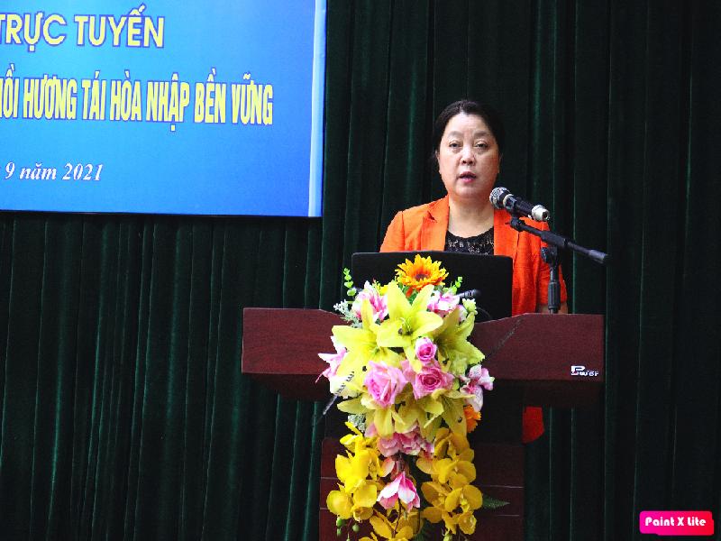 đồng chí Nguyễn Thị Thu Thuỷ, Phó Chủ tịch Hội LHPN TP Hà Nội  phát biểu tại chương trình