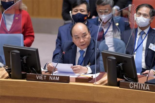 Chủ tịch nước Nguyễn Xuân Phúc phát biểu tại Phiên họp - Ảnh: UN