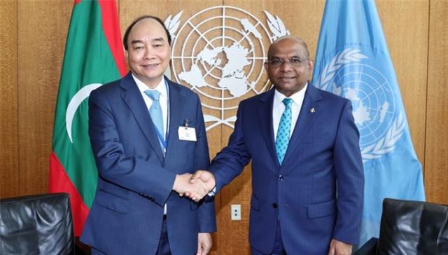 Chủ tịch nước Nguyễn Xuân Phúc hội kiến với ông Abdulla Shahid, Chủ tịch Đại hội đồng Liên Hiệp Quốc khóa 76.