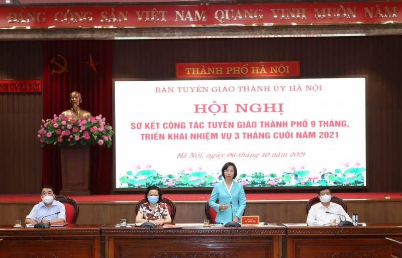Đồng chí Bùi Huyền Mai, Trưởng ban Tuyên giáo Thành ủy nhấn mạnh nhiệm vụ 3 tháng cuối năm