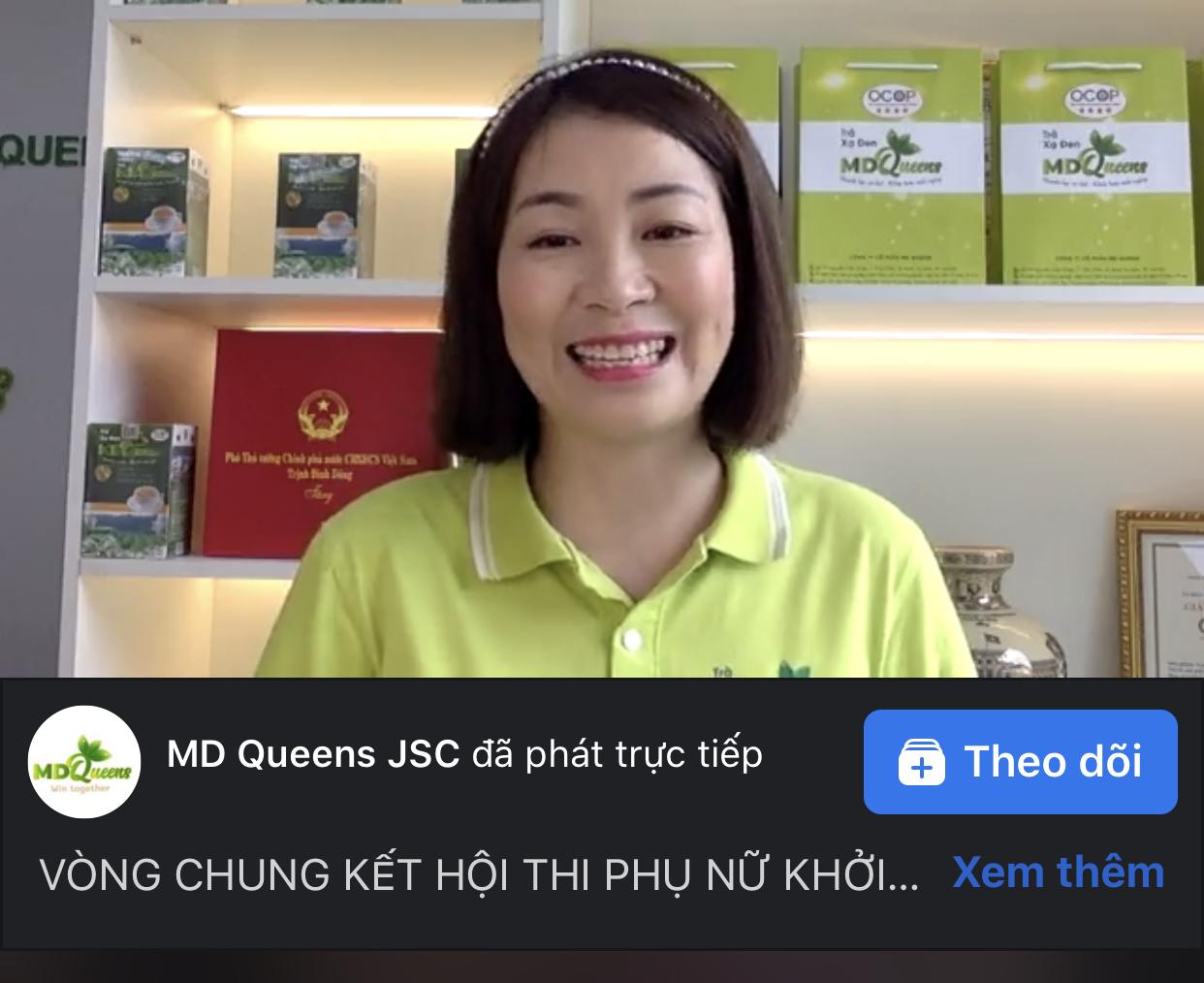 Chị Trịnh Kim Thư, Giám đốc công ty cổ phần MD Queen quảng bá sản phẩm trà xạ đen trên fanpage của công ty