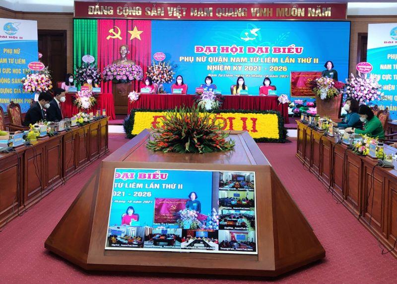 Đại hội Đại biểu Phụ nữ quận Nam Từ Liêm lần thứ II, nhiệm kỳ 2021-2026 được tổ chức bằng hình thức trực tiếp và trực tuyến tại 11 điểm cầu.